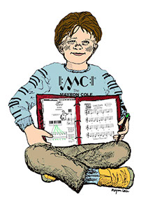 drawing of boy showing piano binder