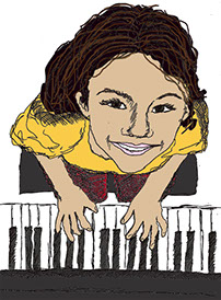 drawing of girl playing piano