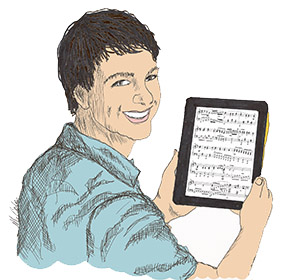 drawing of guy with piano music on tablet