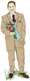 drawing of a man with bouquet